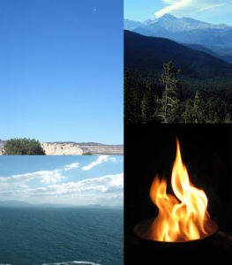 earth, air, fire, water composite image element
